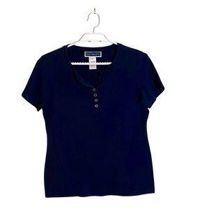 Karen Scott Women's Navy Short Sleeve Knit Shirt